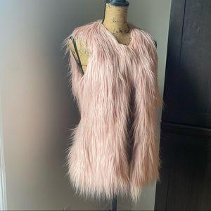 Blush Pink Faux Fur Boho Vest Size Small